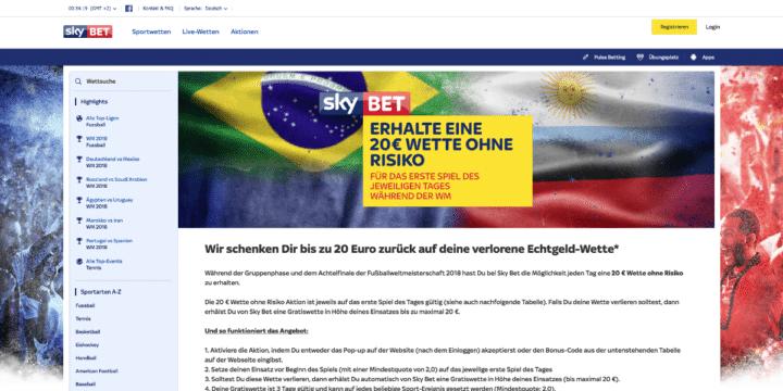 Sky Bet - Erhalte eine 20 € Wette ohne Risiko