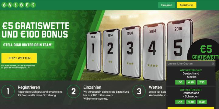 Unibet WM 2018 Wettbonus